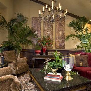 Example of a tuscan living room design in San Diego
