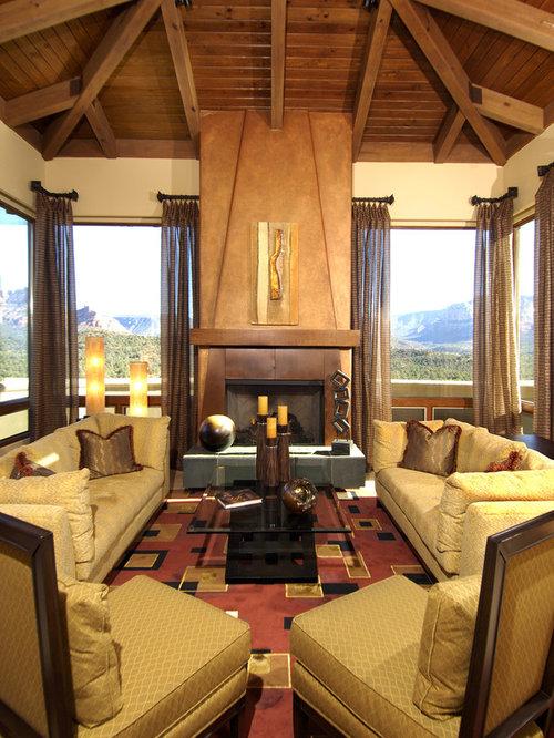 mediterrane wohnzimmer mit kaminsims aus metall ideen design bilder beispiele. Black Bedroom Furniture Sets. Home Design Ideas