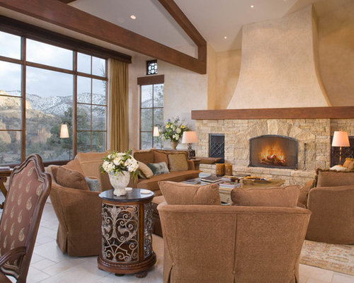 Example Of A Tuscan Living Room Design In Portland