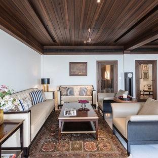 Inspiration pour un salon asiatique ouvert avec une salle de réception, un mur blanc et un sol blanc.