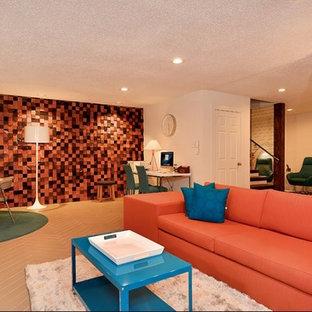 Foto di un grande soggiorno moderno aperto con angolo bar, pareti bianche, pavimento in gres porcellanato e TV a parete