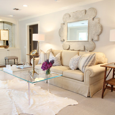 Inspiration for a timeless living room remodel in Houston with beige walls