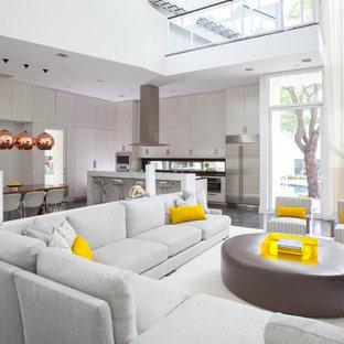 Ispirazione per un soggiorno minimal aperto con pavimento in cemento