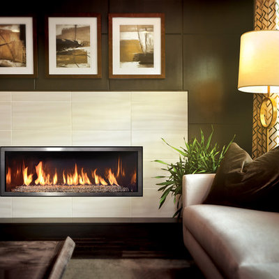 Inspiration for a large contemporary formal and open concept living room remodel in Other with beige walls, a ribbon fireplace, a tile fireplace and no tv