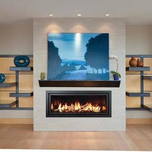Immagine di un soggiorno moderno di medie dimensioni e chiuso con camino lineare Ribbon, cornice del camino in intonaco, pareti beige, parquet chiaro e nessuna TV