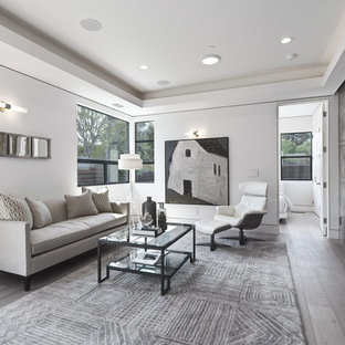 Inspiration for a mid-sized transitional formal and open concept gray floor and light wood floor living room remodel in San Francisco with a standard fireplace, a concrete fireplace, gray walls and no tv