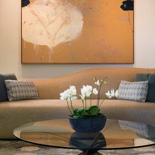 Immagine di un soggiorno contemporaneo di medie dimensioni e chiuso con sala formale, pareti bianche, moquette, camino classico, cornice del camino in pietra e nessuna TV