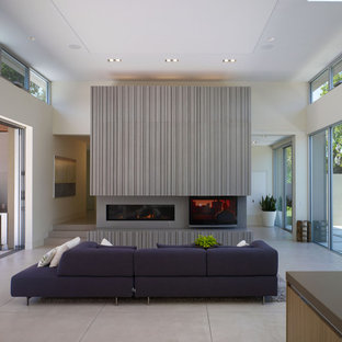 Trendy concrete floor living room photo in San Francisco with a concrete fireplace and a ribbon fireplace