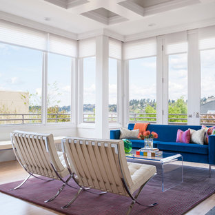 Trendy living room photo in Seattle