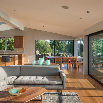 Inspiration for a contemporary open concept living room remodel in Seattle