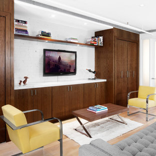 Living room - modern living room idea in New York with a wall-mounted tv