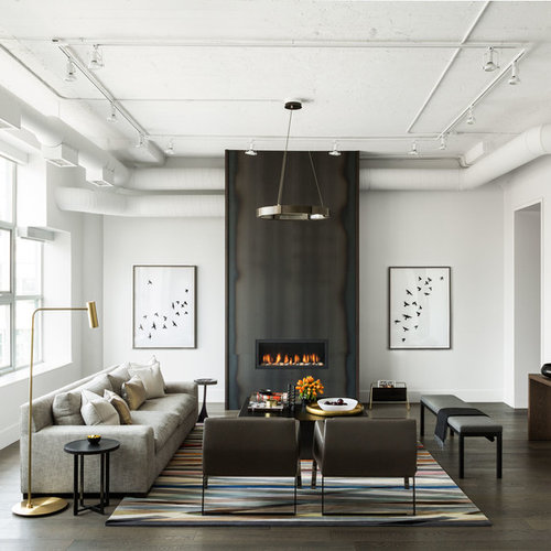Large Transitional Enclosed And Formal Dark Wood Floor And Brown Floor Living  Room Idea In Toronto Part 17