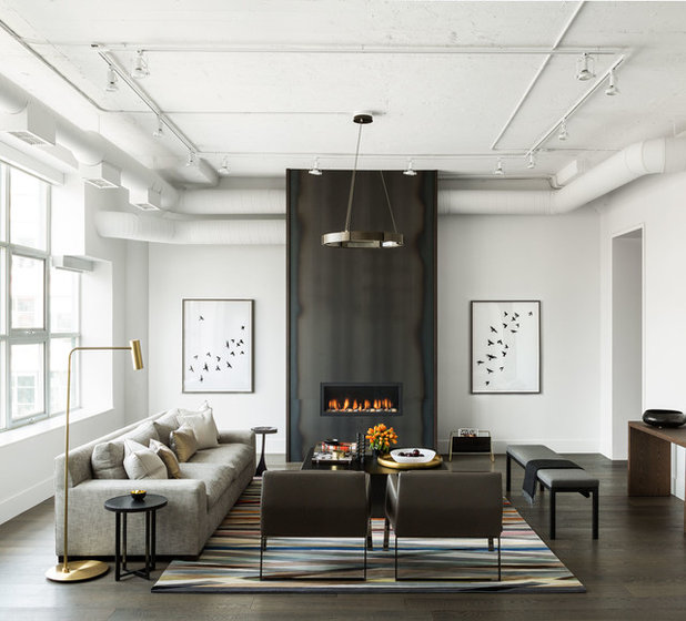 Transitional Living Room by Croma Design Inc
