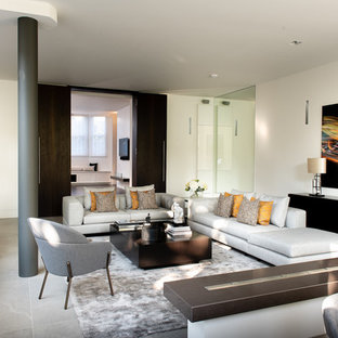 Design ideas for a contemporary living room in London with white walls and grey floors.