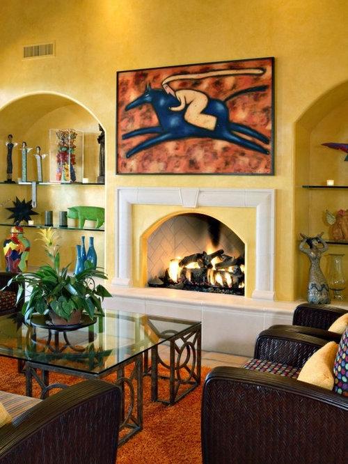 Yellow Living Room Design Ideas Renovations Photos With Terracotta Flooring
