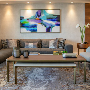Inspiration for a mid-sized modern formal and open concept porcelain floor and white floor living room remodel in Miami with white walls and a wall-mounted tv