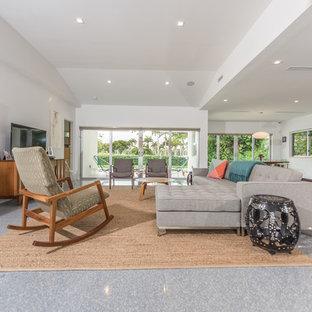 Ispirazione per un soggiorno moderno di medie dimensioni e aperto con sala formale, pareti bianche, pavimento in linoleum, nessun camino, TV autoportante e pavimento grigio
