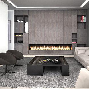 Bild på ett mellanstort funkis separat vardagsrum, med ett finrum, vita väggar, ljust trägolv och en dold TV