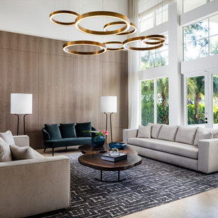 Living room - large contemporary open concept beige floor and porcelain floor living room idea in Miami with white walls