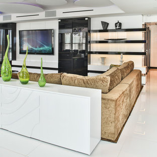 Large trendy formal and open concept marble floor living room photo in Miami with white walls and a media wall