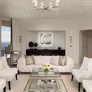 Foto di un grande soggiorno classico chiuso con sala formale, pareti bianche e pavimento in marmo