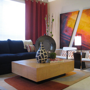 Inspiration for a contemporary living room remodel in San Diego with beige walls
