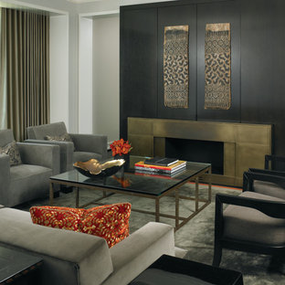 Inspiration for a contemporary living room remodel in Chicago with a concealed tv and a ribbon fireplace