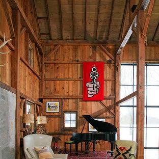 Inspiration för ett rustikt vardagsrum, med ett musikrum