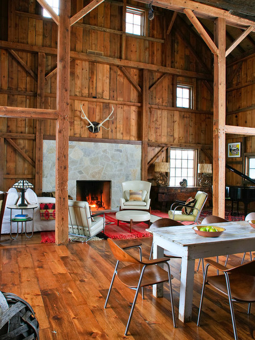 Two story stone fireplace home design ideas pictures for Barn style interior design