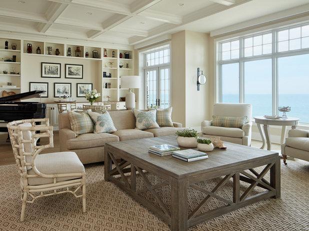 Beach Style Living Room by Marsha Jones Interior Design, Ltd.