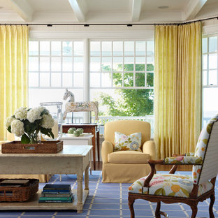 Inspiration for a beach style living room in Chicago with beige walls and no tv.