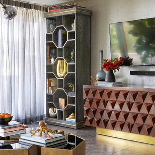 Living room - large 1950s formal and enclosed concrete floor and gray floor living room idea in Los Angeles with a wall-mounted tv