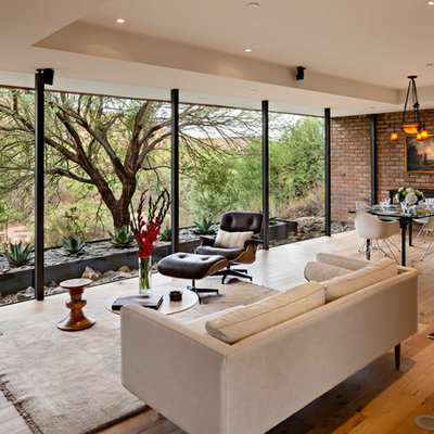 Example of a mid-century modern medium tone wood floor living room design in Phoenix with a wood stove and no tv