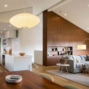 サンフランシスコの大きいミッドセンチュリースタイルのおしゃれなLDK (白い壁、淡色無垢フローリング、標準型暖炉、コンクリートの暖炉まわり、壁掛け型テレビ) の写真