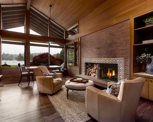 Inspiration For A Rustic Formal And Enclosed Dark Wood Floor And Brown  Floor Living Room Remodel Part 61