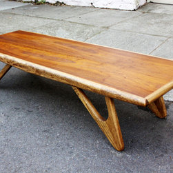 Mid Century Mobler: Past Collections - Mid century modern surfboard coffee table in walnut + oak in the manner of Adrian Pearsall.