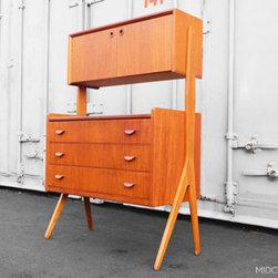 Mid Century Mobler: Past Collections - Stunning Danish modern freestanding v-legged desk / vanity in teak.
