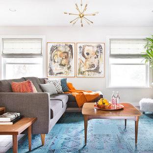 Foto di un soggiorno moderno di medie dimensioni e chiuso con pareti grigie e nessun camino