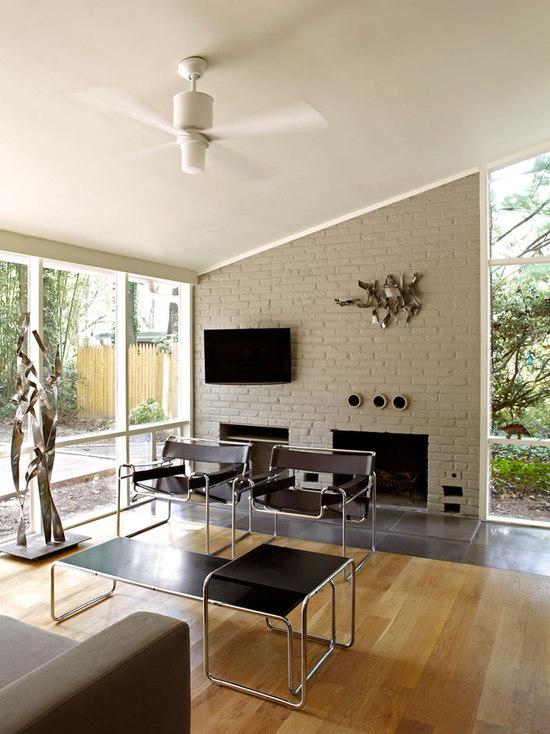 Midcentury Modern Brick Fireplace Houzz