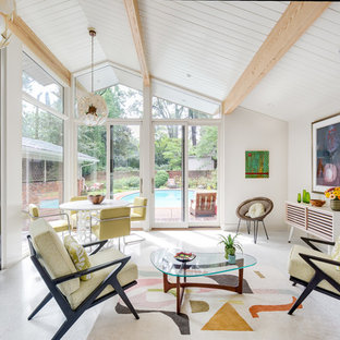 Example Of A Mid Sized 1950s Formal And Open Concept White Floor Living Room Design