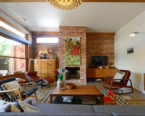 Living Room Ideas With Brick Fireplace And Tv red brick fireplace | houzz