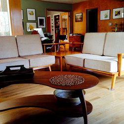 """Mid-Century Modern Furniture Cushions - Customer Photo: """"Inside photo of two-piece maple wood frame sectional loveseat set."""""""