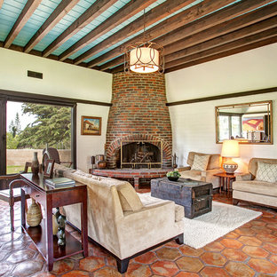 Inspiration for a 1950s terra-cotta floor living room remodel in San Diego with a corner fireplace and a brick fireplace