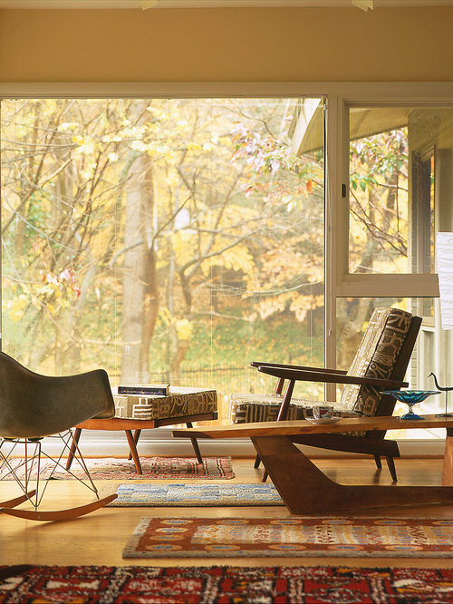Inspiration For A 1950s Medium Tone Wood Floor Living Room Remodel In  Baltimore With Beige Walls. Save Photo. Johnson Berman. Mid Century Modern  Home