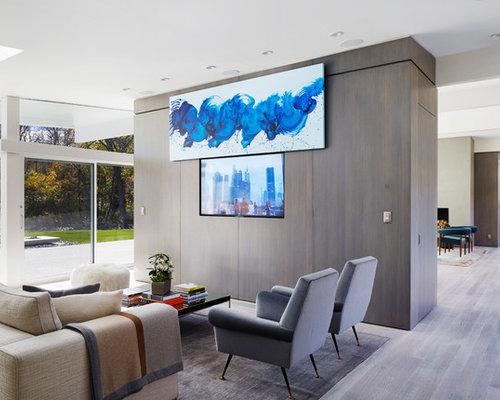 modern homes design ideas. Living room  1950s open concept light wood floor living idea in New York with 15 Best Midcentury Modern Home Design Ideas Houzz