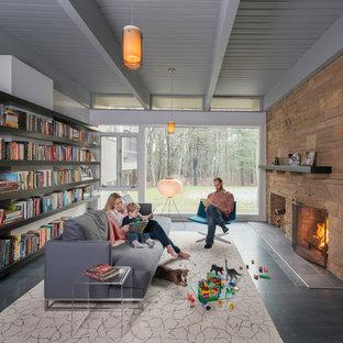 Modelo de biblioteca en casa cerrada, retro, pequeña, sin televisor, con paredes grises, suelo de madera oscura, chimenea de doble cara y marco de chimenea de piedra