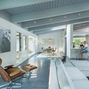 Idee per un grande soggiorno minimalista aperto con pareti bianche, sala formale e parquet scuro