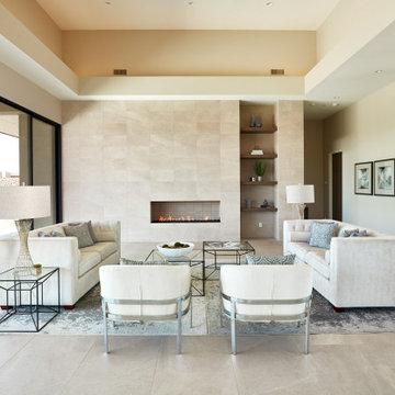 Mid Century Modern- Living Area White on Beige