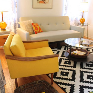 Inspiration for a 1950s living room remodel in Los Angeles with white walls