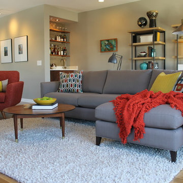 Mid Century Modern Living Room with Bookcases and White Shag Rug